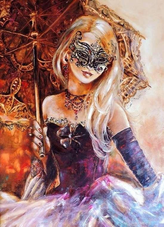Картина по номерам 40x50 Девушка с зонтом в карнавальной маске
