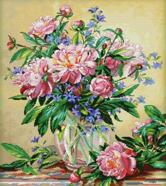 Картина по номерам 40x50 Букет пионов в прозрачной вазе