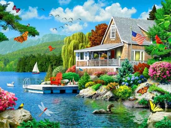 Картина по номерам 40x50 Летняя веранда у озера